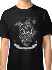 North American map, chalkboard art, travel, black, white Classic T-Shirt
