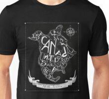 North American map, chalkboard art, travel, black, white Unisex T-Shirt