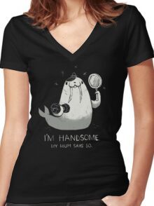 i'm handsome Women's Fitted V-Neck T-Shirt