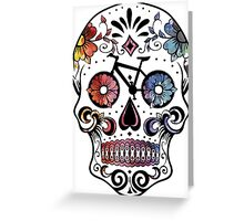 Sugar skull bikes watercolor Greeting Card
