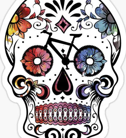 Sugar skull bikes watercolor Sticker