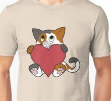 Valentine's Day Calico Cat with Red Heart Unisex T-Shirt