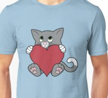 Valentine's Day Gray Cat with Red Heart Unisex T-Shirt