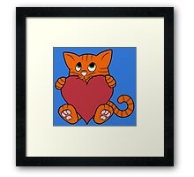 Valentine's Day Orange Cat with Red Heart Framed Print