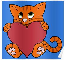 Valentine's Day Orange Cat with Red Heart Poster
