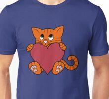 Valentine's Day Orange Cat with Red Heart Unisex T-Shirt
