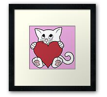 Valentine's Day White Cat with Red Heart Framed Print