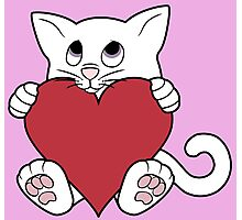 Valentine's Day White Cat with Red Heart Photographic Print