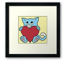 Valentine's Day Blue Cat with Red Heart Framed Print