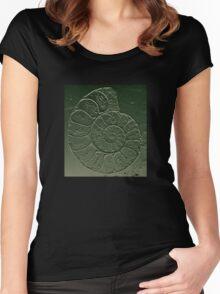 Ammonite Fossil Dark Grey Green Women's Fitted Scoop T-Shirt