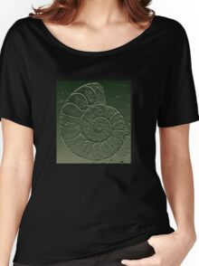 Ammonite Fossil Dark Grey Green Women's Relaxed Fit T-Shirt
