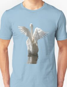 White Duck Flapping Wings on Water Vector T-Shirt