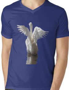 White Duck Flapping Wings on Water Vector Mens V-Neck T-Shirt