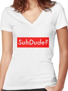 SuhDude Sticker (Preme x Getter) Women's Fitted V-Neck T-Shirt