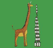 Who is Taller Unicorn Giraffe or Penguin? Kids Tee