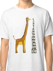 Who is Taller Unicorn Giraffe or Penguin? Classic T-Shirt