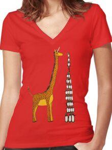 Who is Taller Unicorn Giraffe or Penguin? Women's Fitted V-Neck T-Shirt