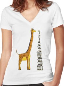 Who is Taller Unicorn Giraffe or Penguin? Women's Fitted V-Neck T-Shirt