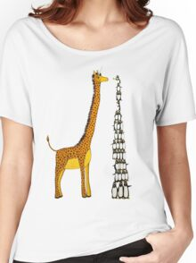 Who is Taller Unicorn Giraffe or Penguin? Women's Relaxed Fit T-Shirt