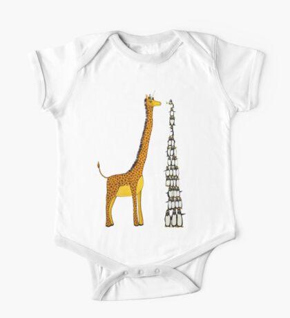 Who is Taller Unicorn Giraffe or Penguin? One Piece - Short Sleeve