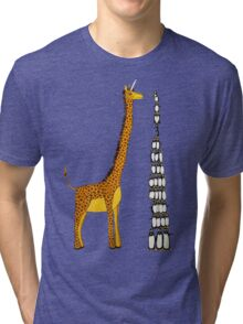 Who is Taller Unicorn Giraffe or Penguin? Tri-blend T-Shirt