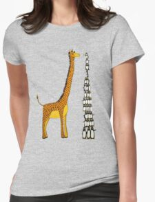 Who is Taller Unicorn Giraffe or Penguin? Womens Fitted T-Shirt
