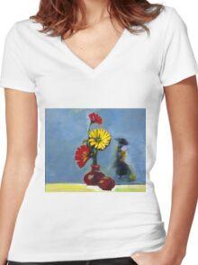 Flowers in Vase Women's Fitted V-Neck T-Shirt