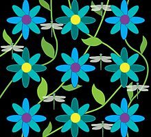 Flower and Dragonfly Graphic Design Black by BelindaGreb