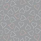 Pastel grey hearts by Morag Anderson