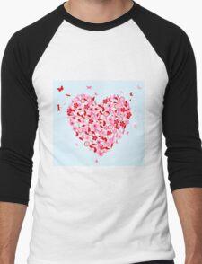 Flower heart Men's Baseball ¾ T-Shirt