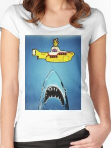 Jaws-Yellow Submarine  Women's Fitted Scoop T-Shirt