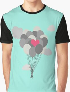heart balloon between gray ballons  Graphic T-Shirt