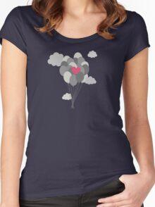 heart balloon between gray ballons  Women's Fitted Scoop T-Shirt
