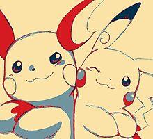 Raichu and Pikachu by SAKUTO