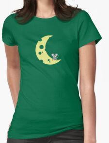 mouse on the cheese moon  Womens Fitted T-Shirt