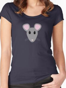 sweet gray mouse face  Women's Fitted Scoop T-Shirt