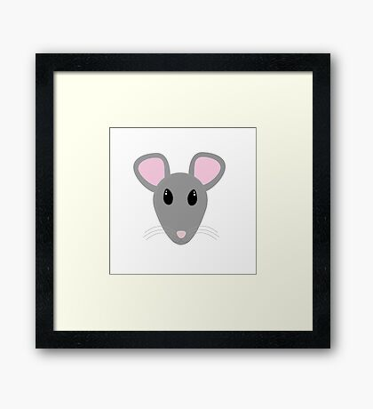 sweet gray mouse face  Framed Print