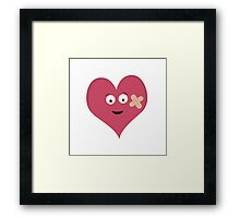 Heart face with patch  Framed Print