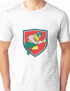 American Football Running Back Charging Crest Cartoon Unisex T-Shirt