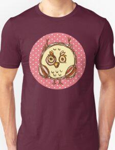 Funny owl pink polka dot Unisex T-Shirt