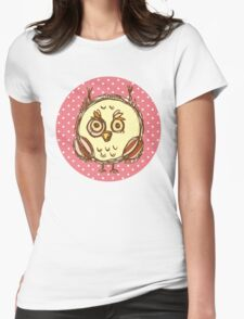 Funny owl pink polka dot Womens Fitted T-Shirt
