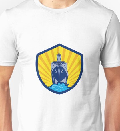 Passenger Ship Cargo Boat Crest Cartoon Unisex T-Shirt