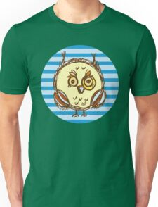 Funny owl blue and brown Unisex T-Shirt