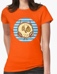 Funny owl blue and brown Womens Fitted T-Shirt