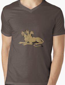 Cerberus Multi-headed Dog Hellhound Sitting Cartoon Mens V-Neck T-Shirt