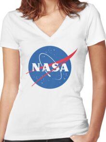 Nasa Logo Women's Fitted V-Neck T-Shirt