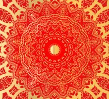 Indian gold mandala on a red background. Sticker