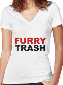Furry TRASH Women's Fitted V-Neck T-Shirt