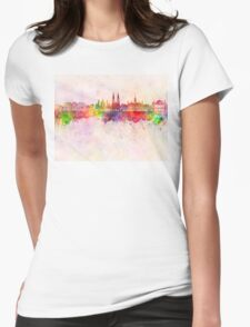Vienna V2 skyline in watercolor background Womens Fitted T-Shirt