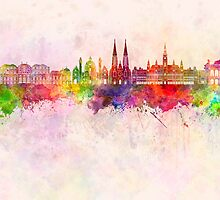 Vienna V2 skyline in watercolor background by paulrommer